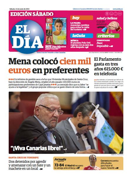 Portada de la edición impresa del periódico El Día del 15 de junio de 2013